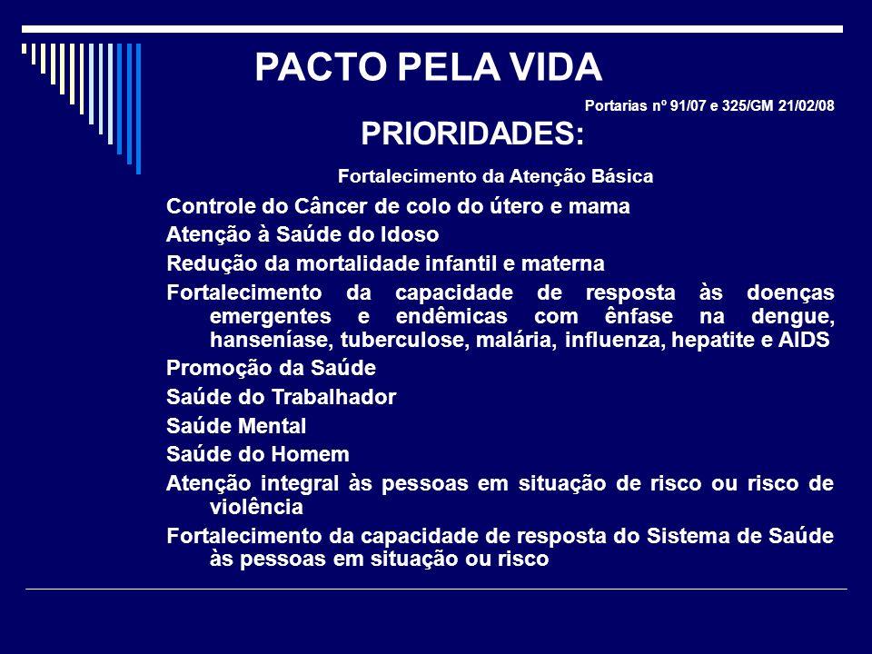 Portarias nº 91/07 e 325/GM 21/02/08 PRIORIDADES: Fortalecimento da Atenção Básica Controle do Câncer de colo do útero e mama Atenção à Saúde do Idoso