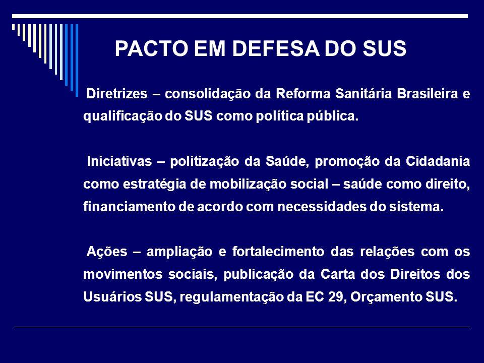 Diretrizes – consolidação da Reforma Sanitária Brasileira e qualificação do SUS como política pública. Iniciativas – politização da Saúde, promoção da