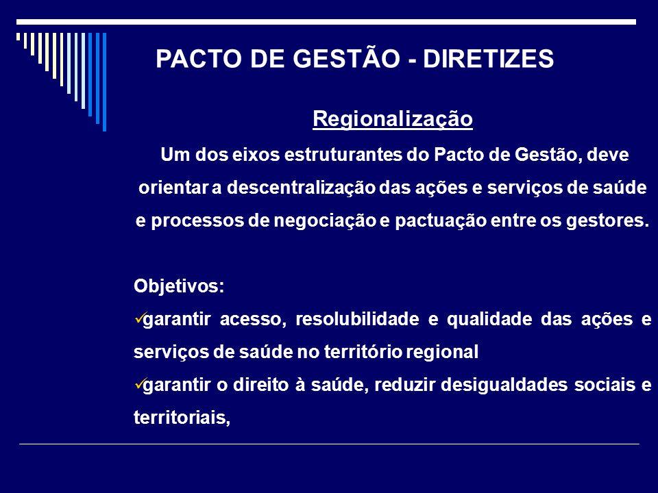 Regionalização Um dos eixos estruturantes do Pacto de Gestão, deve orientar a descentralização das ações e serviços de saúde e processos de negociação