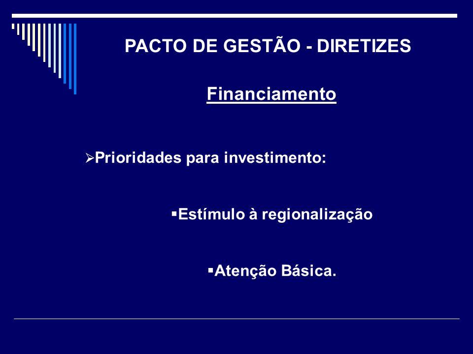 Financiamento Prioridades para investimento: Estímulo à regionalização Atenção Básica. PACTO DE GESTÃO - DIRETIZES