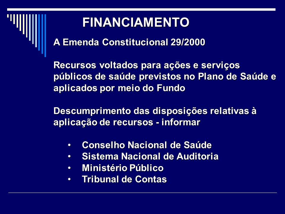 FINANCIAMENTO A Emenda Constitucional 29/2000 Recursos voltados para ações e serviços públicos de saúde previstos no Plano de Saúde e aplicados por me