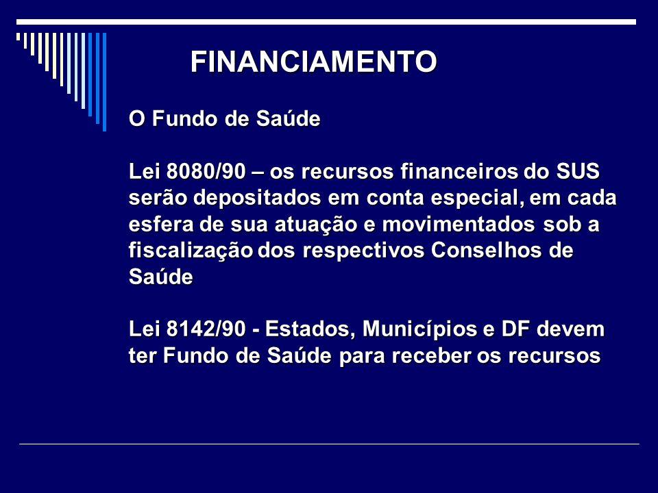 FINANCIAMENTO O Fundo de Saúde Lei 8080/90 – os recursos financeiros do SUS serão depositados em conta especial, em cada esfera de sua atuação e movim