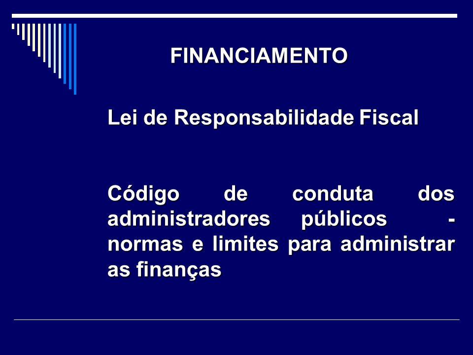 FINANCIAMENTO Lei de Responsabilidade Fiscal Código de conduta dos administradores públicos - normas e limites para administrar as finanças