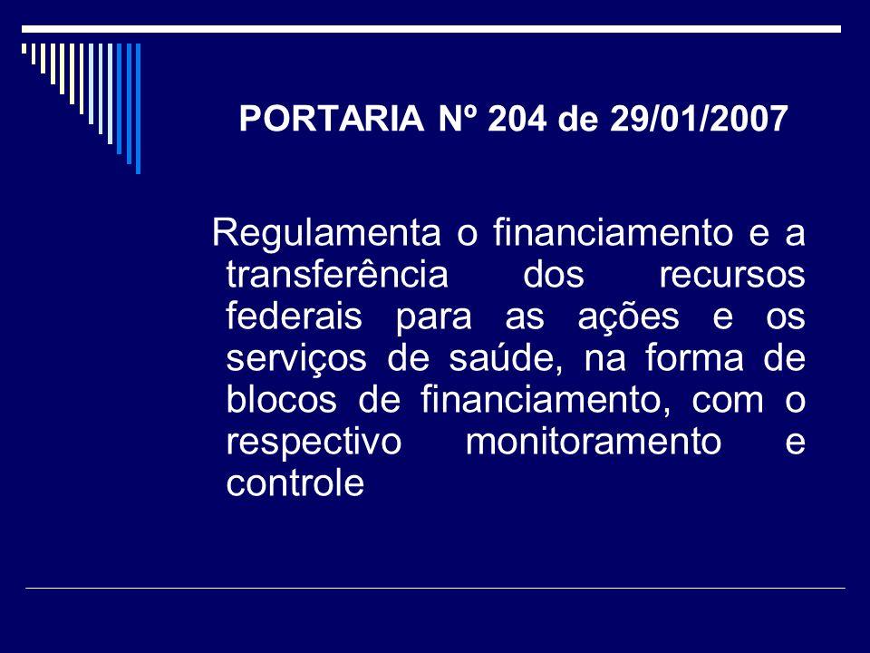 PORTARIA Nº 204 de 29/01/2007 Regulamenta o financiamento e a transferência dos recursos federais para as ações e os serviços de saúde, na forma de bl