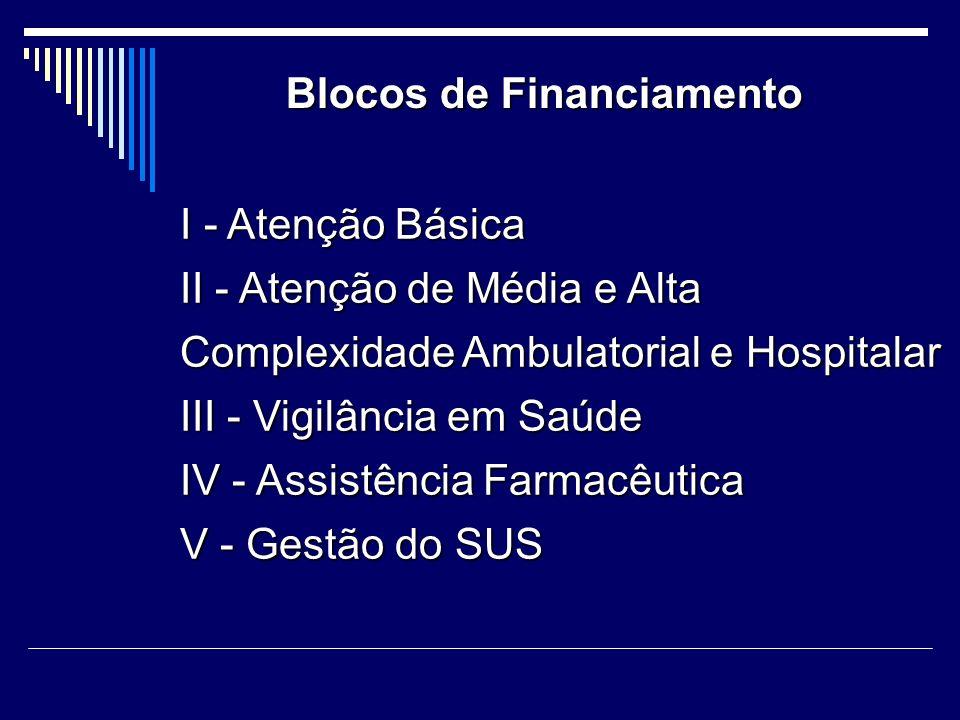 I - Atenção Básica II - Atenção de Média e Alta Complexidade Ambulatorial e Hospitalar III - Vigilância em Saúde IV - Assistência Farmacêutica V - Ges