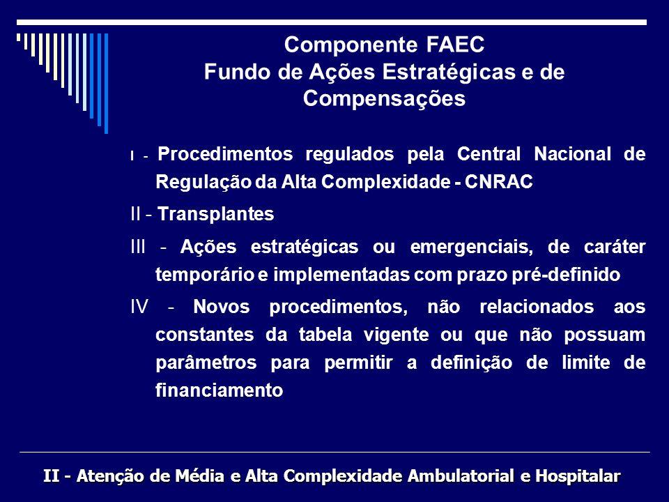 I - Procedimentos regulados pela Central Nacional de Regulação da Alta Complexidade - CNRAC II - Transplantes III - Ações estratégicas ou emergenciais