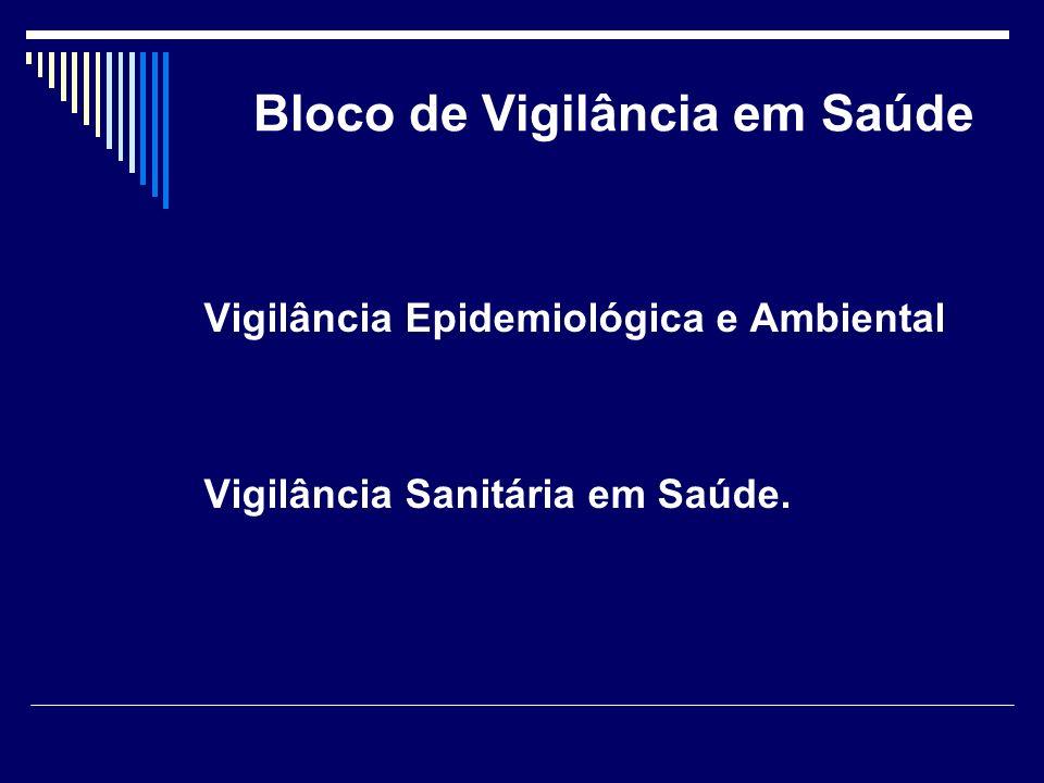 Bloco de Vigilância em Saúde Vigilância Epidemiológica e Ambiental Vigilância Sanitária em Saúde.
