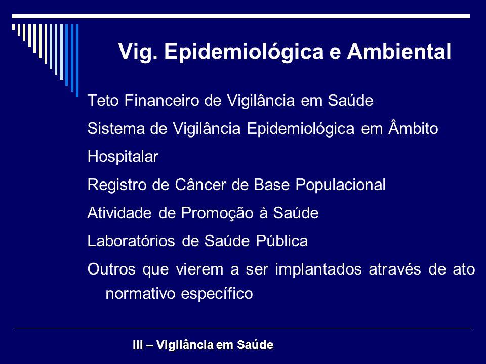 Vig. Epidemiológica e Ambiental Teto Financeiro de Vigilância em Saúde Sistema de Vigilância Epidemiológica em Âmbito Hospitalar Registro de Câncer de