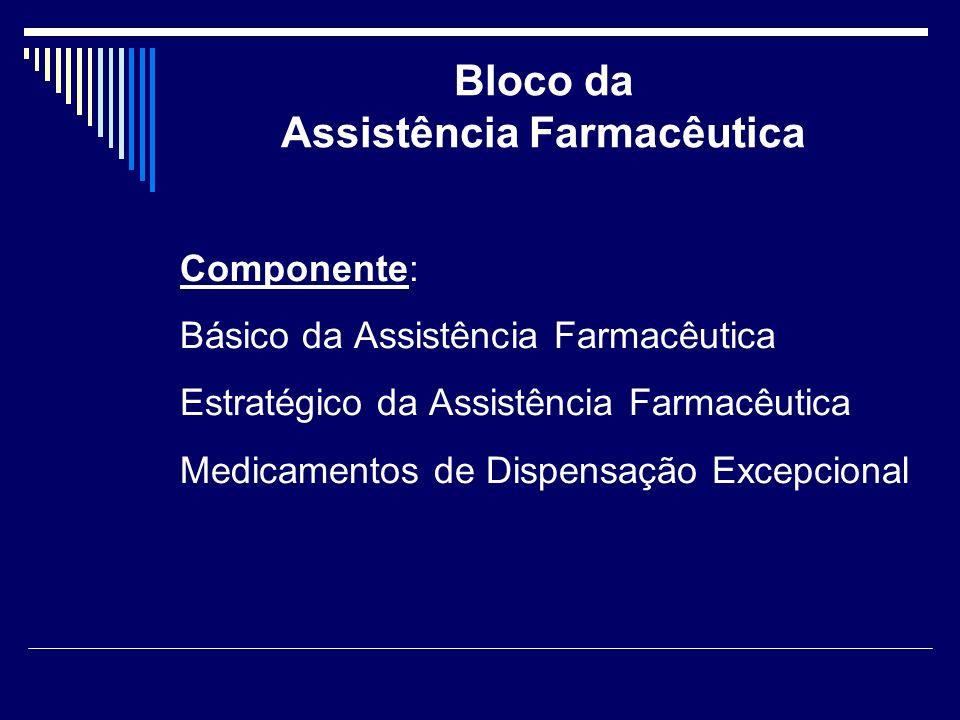 Bloco da Assistência Farmacêutica Componente: Básico da Assistência Farmacêutica Estratégico da Assistência Farmacêutica Medicamentos de Dispensação E