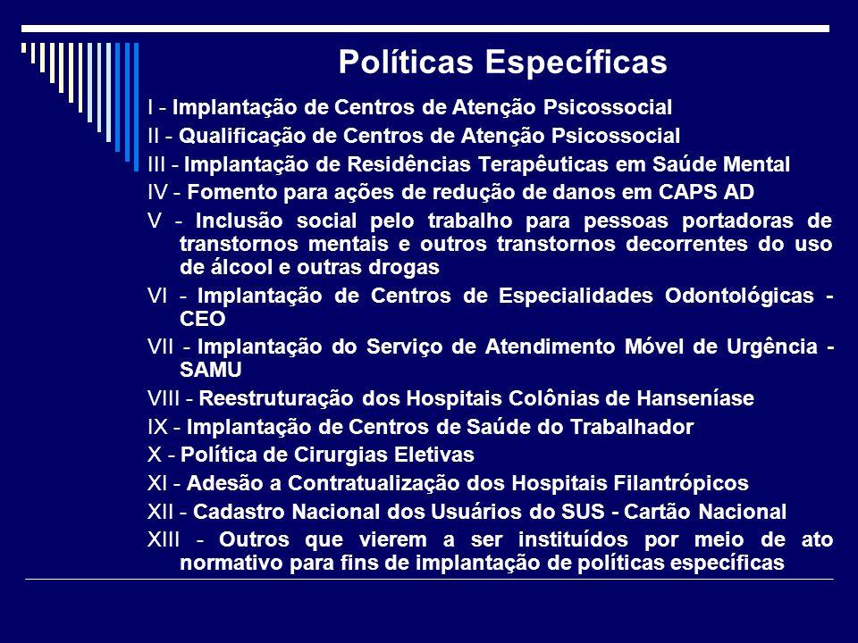Políticas Específicas I - Implantação de Centros de Atenção Psicossocial II - Qualificação de Centros de Atenção Psicossocial III - Implantação de Res