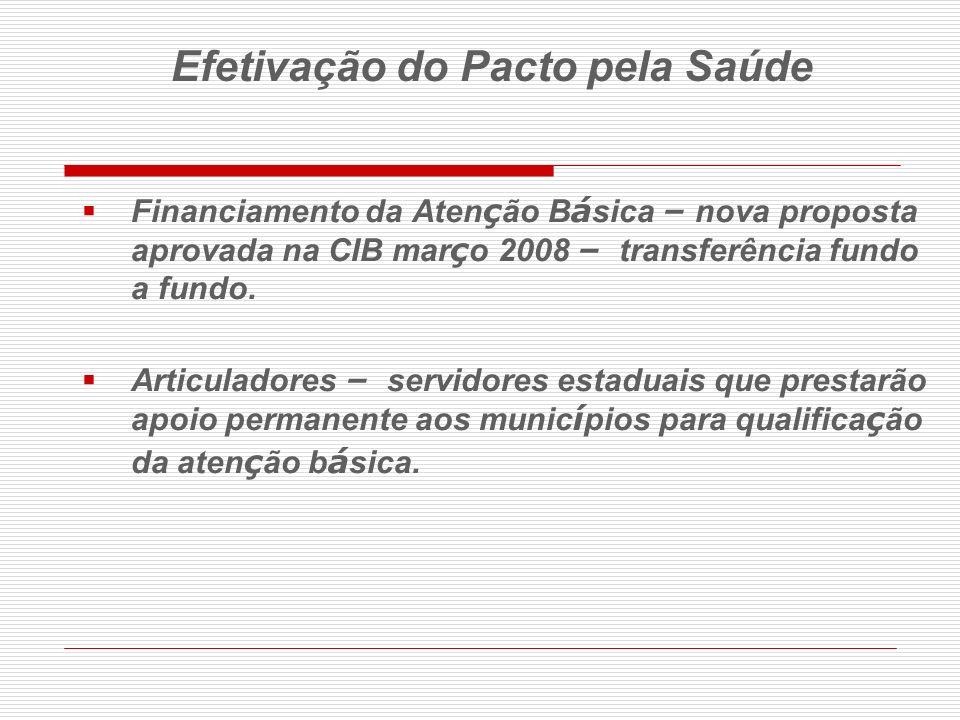 Financiamento da Aten ç ão B á sica – nova proposta aprovada na CIB mar ç o 2008 – transferência fundo a fundo. Articuladores – servidores estaduais q