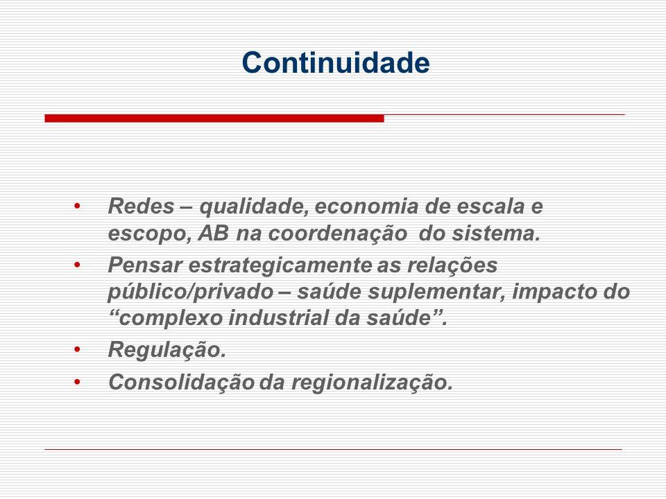 Redes – qualidade, economia de escala e escopo, AB na coordenação do sistema. Pensar estrategicamente as relações público/privado – saúde suplementar,