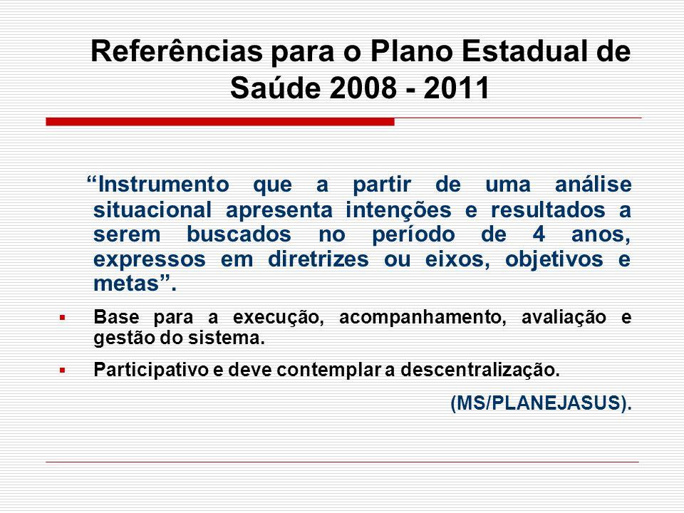 Referências para o Plano Estadual de Saúde 2008 - 2011 Instrumento que a partir de uma análise situacional apresenta intenções e resultados a serem bu