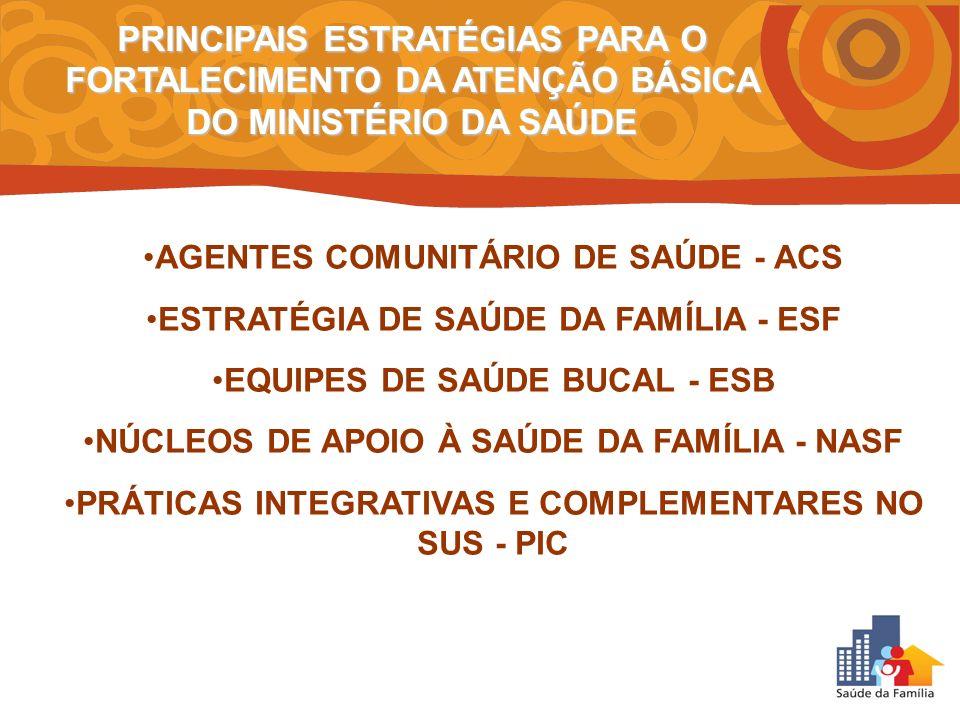 PRINCIPAIS ESTRATÉGIAS PARA O FORTALECIMENTO DA ATENÇÃO BÁSICA DO MINISTÉRIO DA SAÚDE AGENTES COMUNITÁRIO DE SAÚDE - ACS ESTRATÉGIA DE SAÚDE DA FAMÍLI
