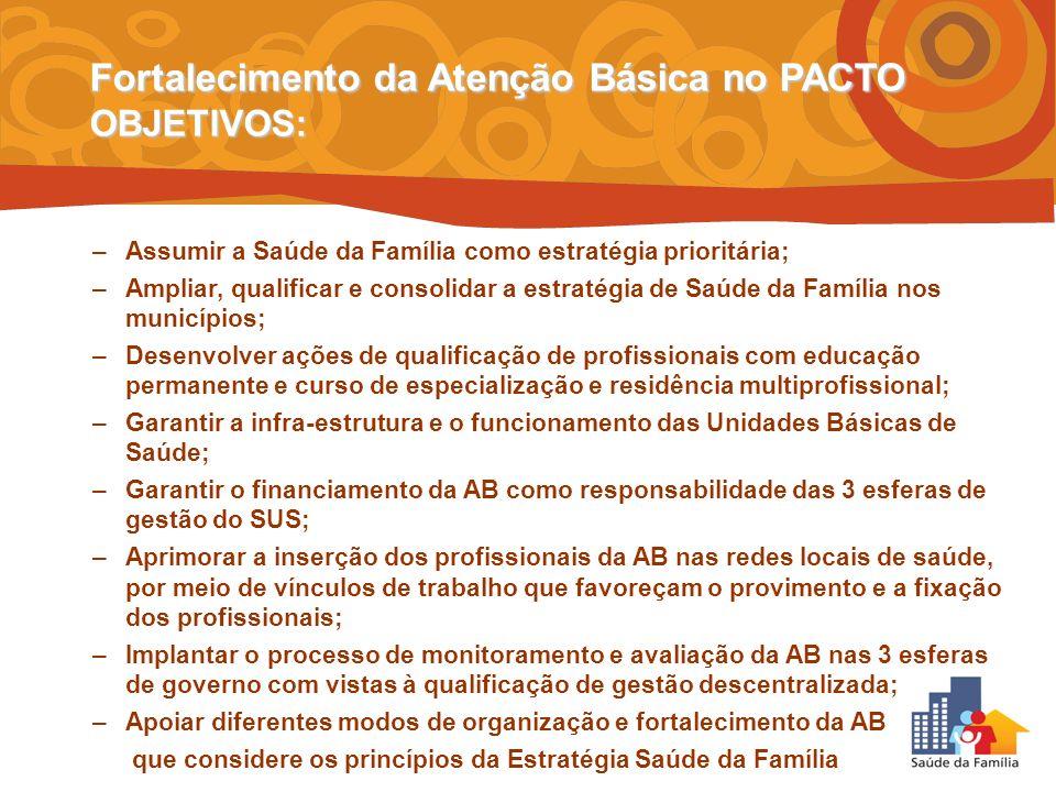 –Assumir a Saúde da Família como estratégia prioritária; –Ampliar, qualificar e consolidar a estratégia de Saúde da Família nos municípios; –Desenvolv