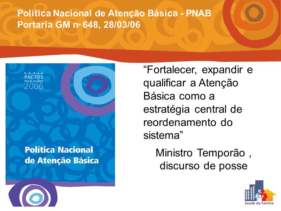 Fortalecer, expandir e qualificar a Atenção Básica como a estratégia central de reordenamento do sistema Ministro Temporão, discurso de posse Política