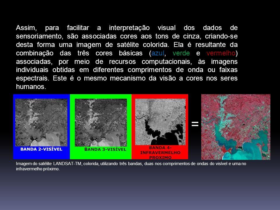 Originalmente, as imagens de satélites são obtidas em preto e branco. Porém, O olho humano é mais sensível a cores que aos tons de cinza. As cores que