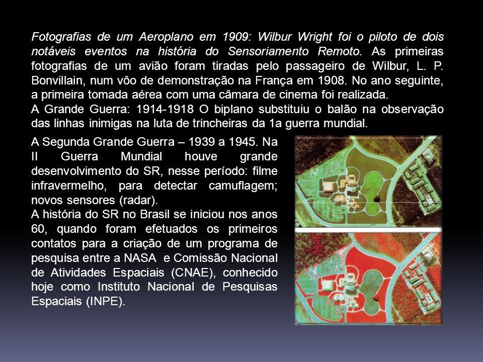 Fotografias de um Aeroplano em 1909: Wilbur Wright foi o piloto de dois notáveis eventos na história do Sensoriamento Remoto.