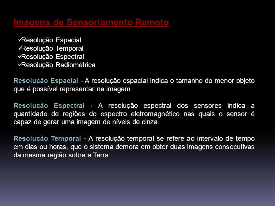 Imagens de Sensoriamento Remoto Resolução Espacial Resolução Temporal Resolução Espectral Resolução Radiométrica Resolução Espacial - A resolução espacial indica o tamanho do menor objeto que é possível representar na imagem.