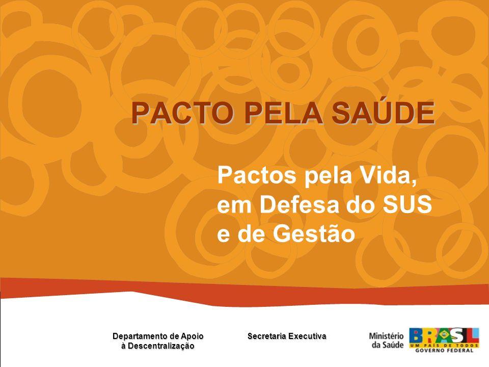 Pactos pela Vida, em Defesa do SUS e de Gestão PACTO PELA SAÚDE Secretaria Executiva Departamento de Apoio à Descentralização