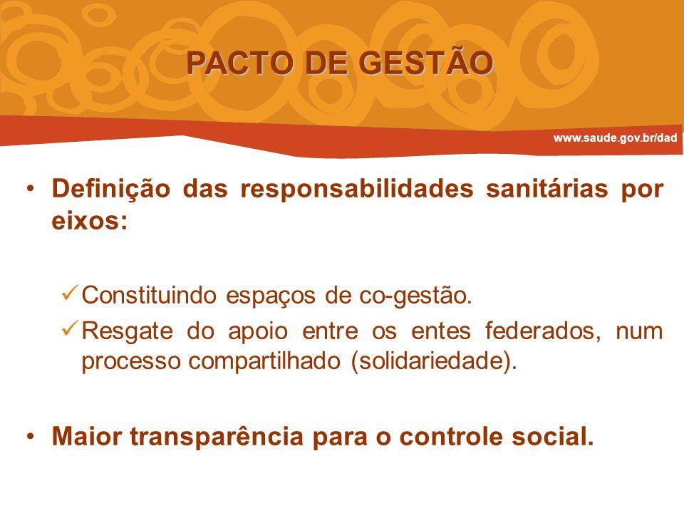 Definição das responsabilidades sanitárias por eixos: Constituindo espaços de co-gestão. Resgate do apoio entre os entes federados, num processo compa