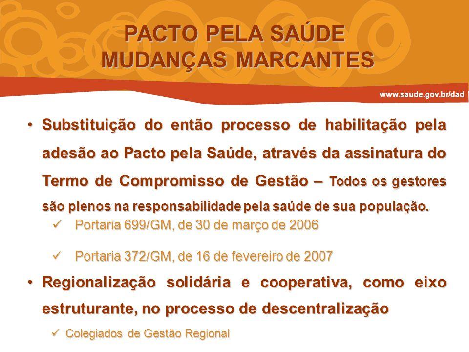 RESPONSABILIDADE SANITÁRIA REALIZANÃO REALIZA AINDA PRAZO PARA REALIZAR NÃO SE APLICA I - ATRIBUIÇÕES E RESPONSABILIDADES SANITÁRIAS TERMO DE COMPROMISSO DE GESTÃO ESTRUTURA www.saude.gov.br/dad