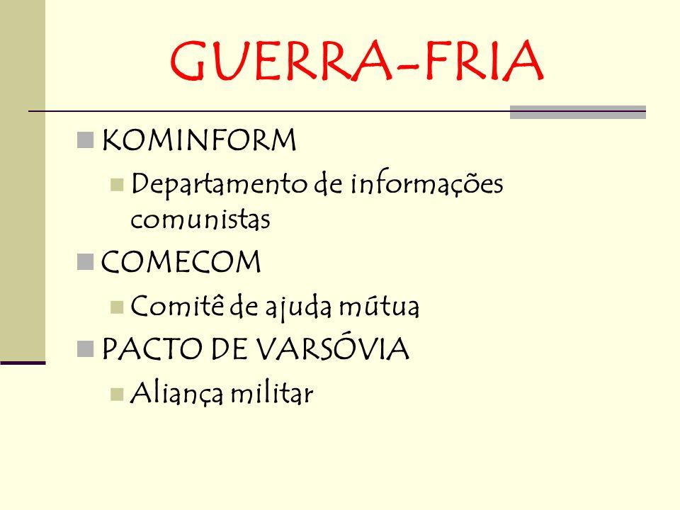 GUERRA-FRIA KOMINFORM Departamento de informações comunistas COMECOM Comitê de ajuda mútua PACTO DE VARSÓVIA Aliança militar