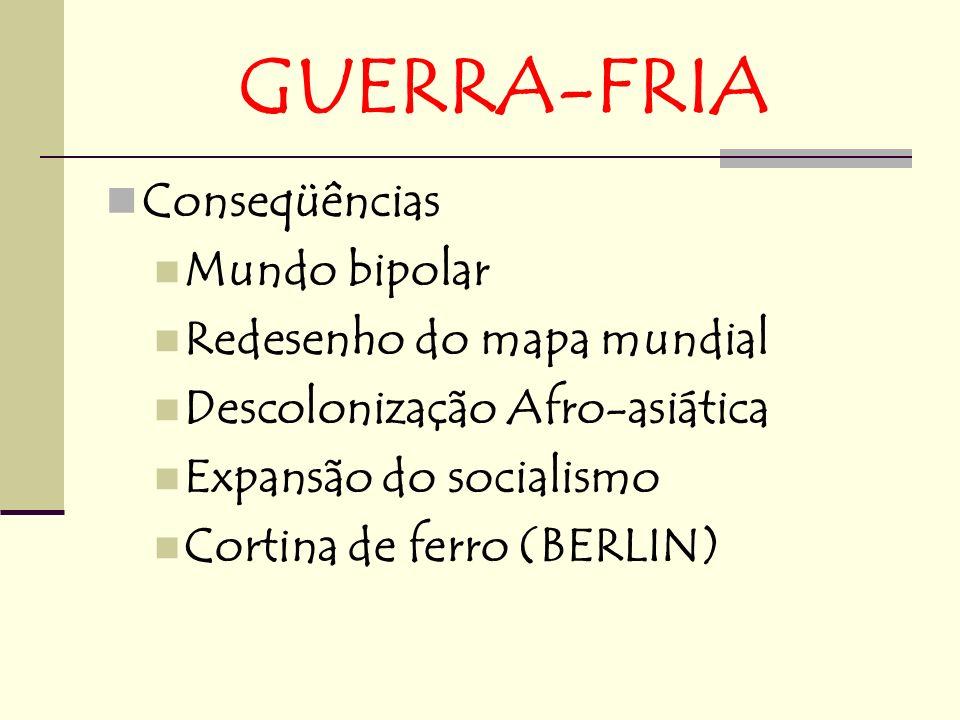 GUERRA-FRIA Conseqüências Mundo bipolar Redesenho do mapa mundial Descolonização Afro-asiática Expansão do socialismo Cortina de ferro (BERLIN)