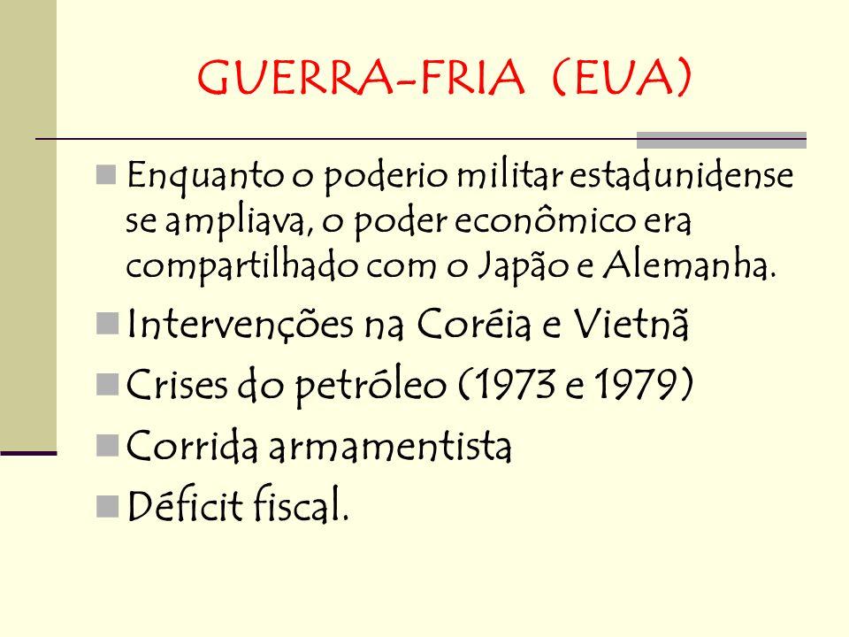 GUERRA-FRIA (EUA) Enquanto o poderio militar estadunidense se ampliava, o poder econômico era compartilhado com o Japão e Alemanha. Intervenções na Co