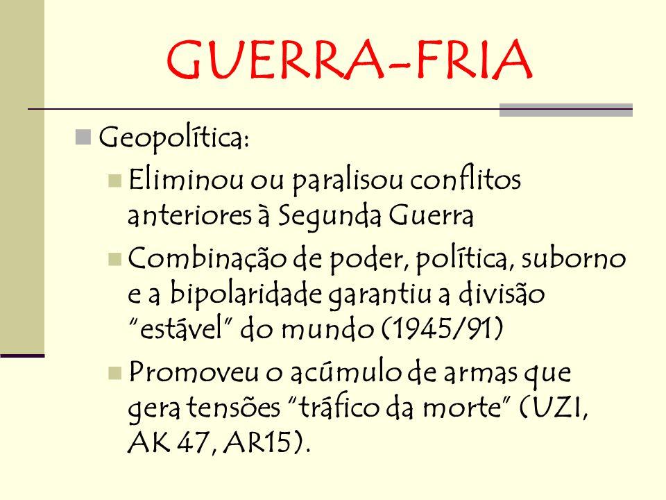 GUERRA-FRIA Geopolítica: Eliminou ou paralisou conflitos anteriores à Segunda Guerra Combinação de poder, política, suborno e a bipolaridade garantiu