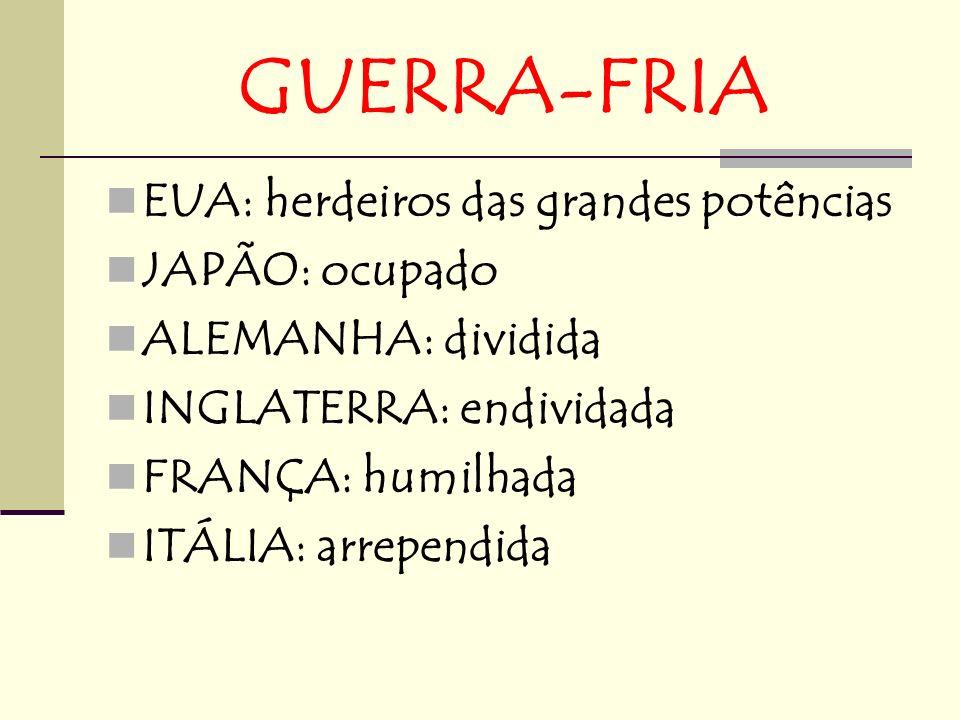 GUERRA-FRIA EUA: herdeiros das grandes potências JAPÃO: ocupado ALEMANHA: dividida INGLATERRA: endividada FRANÇA: humilhada ITÁLIA: arrependida