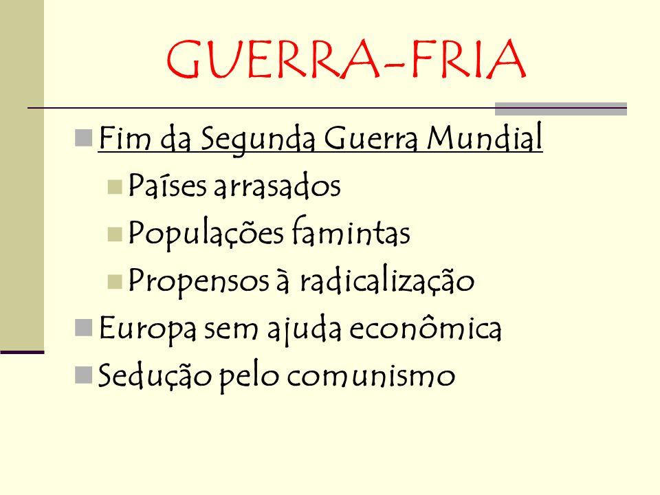 GUERRA-FRIA Fim da Segunda Guerra Mundial Países arrasados Populações famintas Propensos à radicalização Europa sem ajuda econômica Sedução pelo comunismo