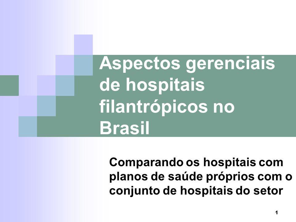 1 Aspectos gerenciais de hospitais filantrópicos no Brasil Comparando os hospitais com planos de saúde próprios com o conjunto de hospitais do setor