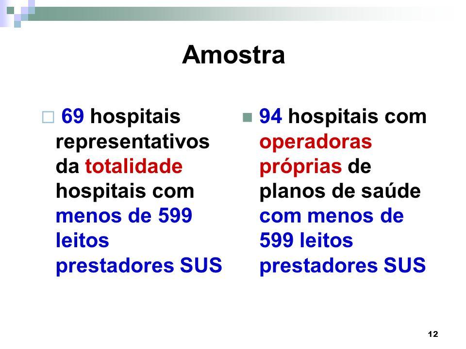 12 Amostra 69 hospitais representativos da totalidade hospitais com menos de 599 leitos prestadores SUS 94 hospitais com operadoras próprias de planos