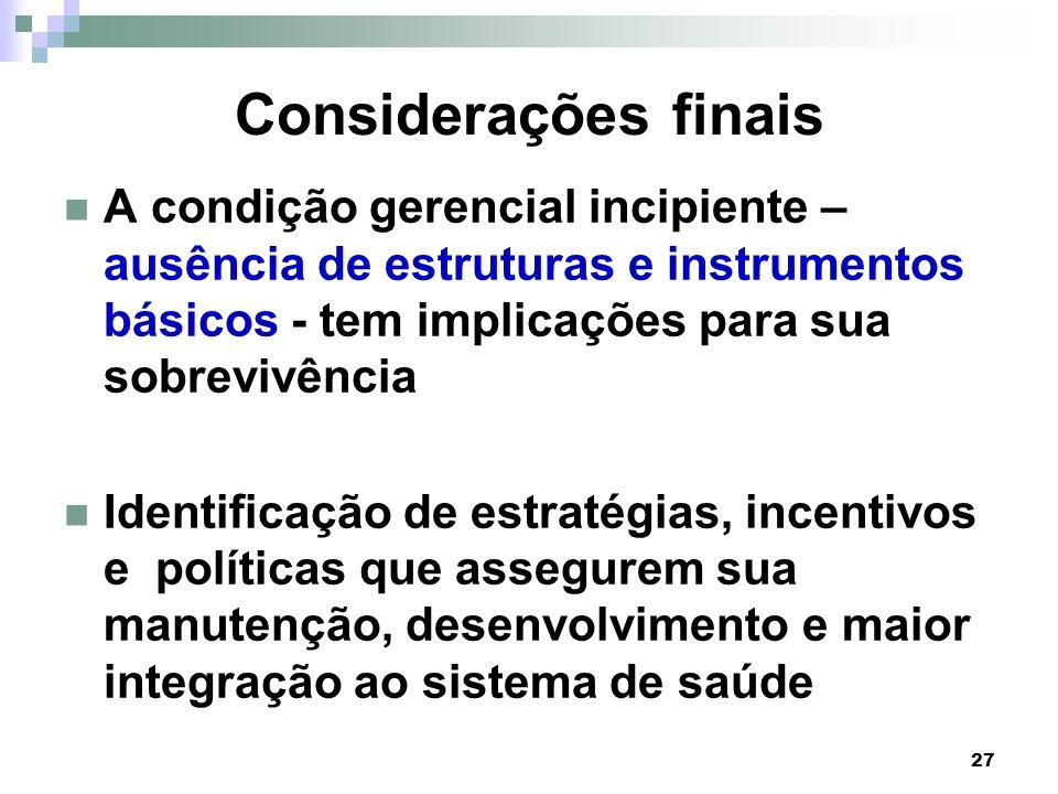 27 Considerações finais A condição gerencial incipiente – ausência de estruturas e instrumentos básicos - tem implicações para sua sobrevivência Ident