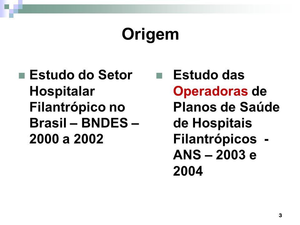 3 Origem Estudo do Setor Hospitalar Filantrópico no Brasil – BNDES – 2000 a 2002 Estudo das Operadoras de Planos de Saúde de Hospitais Filantrópicos -