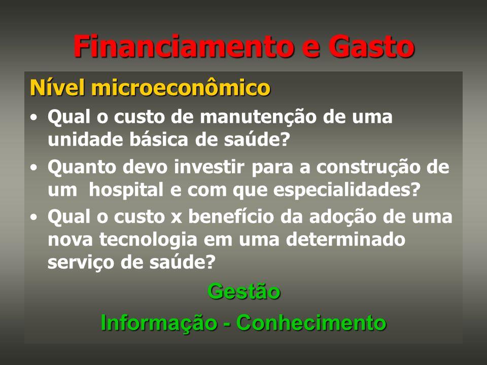 Nível microeconômico Qual o custo de manutenção de uma unidade básica de saúde? Quanto devo investir para a construção de um hospital e com que especi