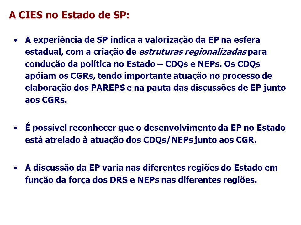 A CIES no Estado de SP: A experiência de SP indica a valorização da EP na esfera estadual, com a criação de estruturas regionalizadas para condução da
