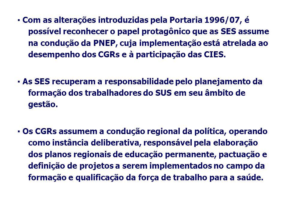 Com as alterações introduzidas pela Portaria 1996/07, é possível reconhecer o papel protagônico que as SES assume na condução da PNEP, cuja implementa