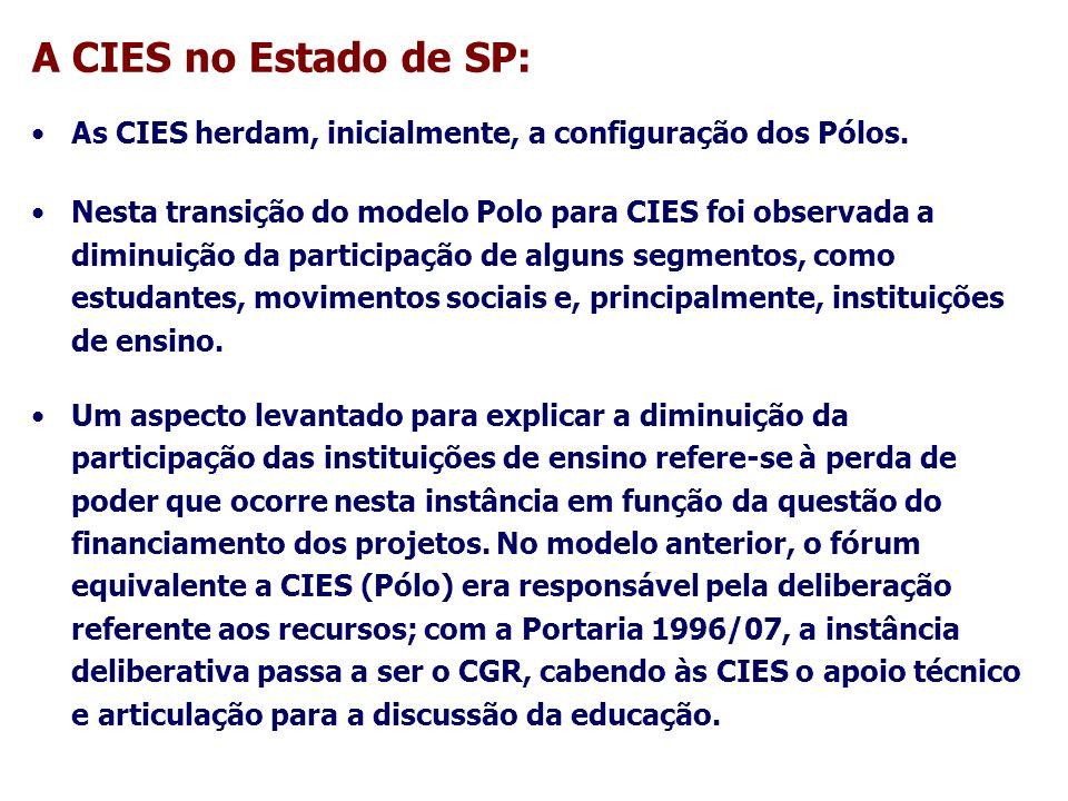 A CIES no Estado de SP: Com as CIES enfraquecidas em termos de representatividade e pouco atuantes na relação com os CGRs, foi necessário retomar a discussão sobre o papel dessas instâncias no contexto da implementação da EP.