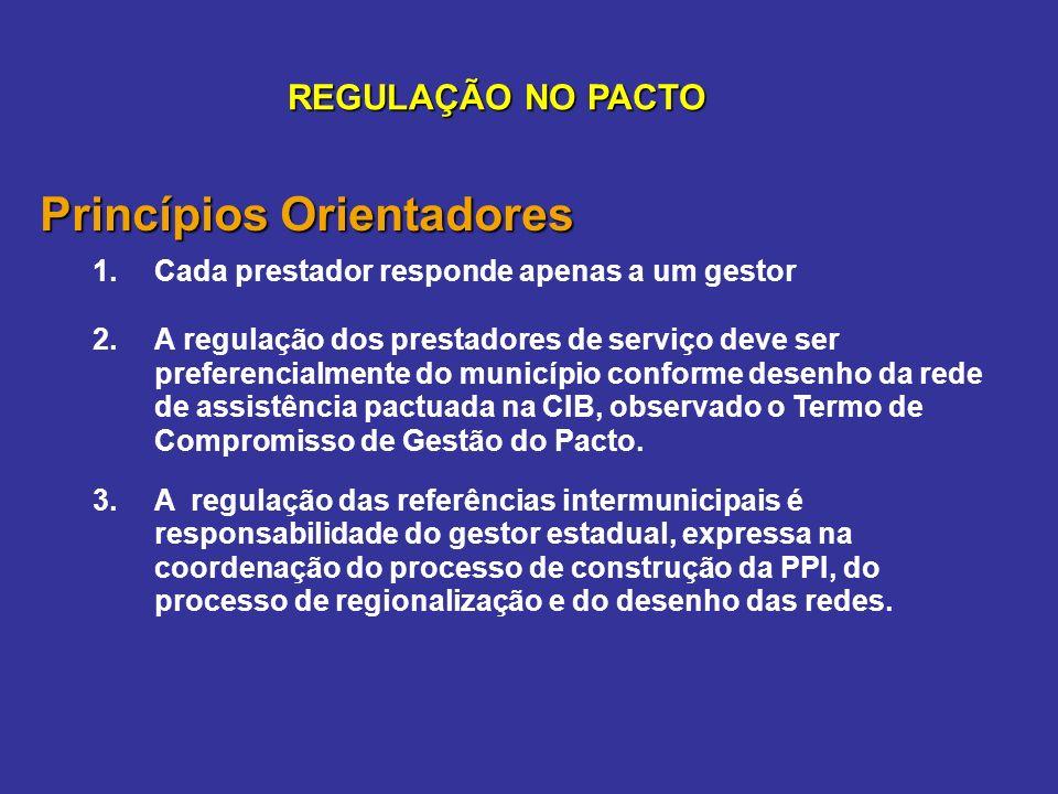 Princípios Orientadores 1.Cada prestador responde apenas a um gestor 2.A regulação dos prestadores de serviço deve ser preferencialmente do município