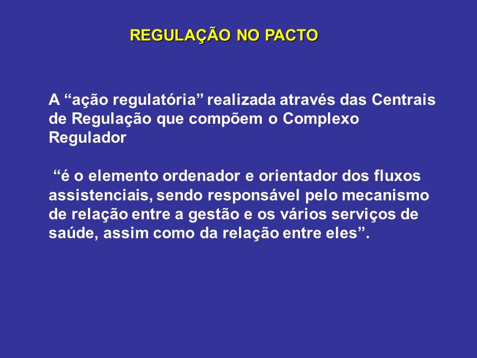A ação regulatória realizada através das Centrais de Regulação que compõem o Complexo Regulador é o elemento ordenador e orientador dos fluxos assiste