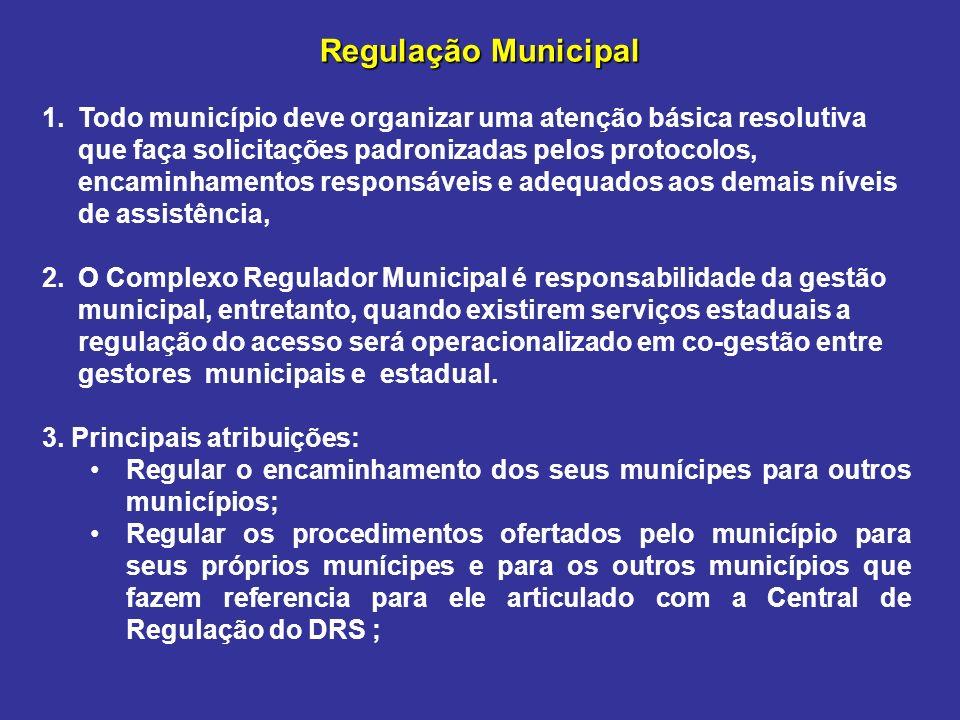 Regulação Municipal 1.Todo município deve organizar uma atenção básica resolutiva que faça solicitações padronizadas pelos protocolos, encaminhamentos