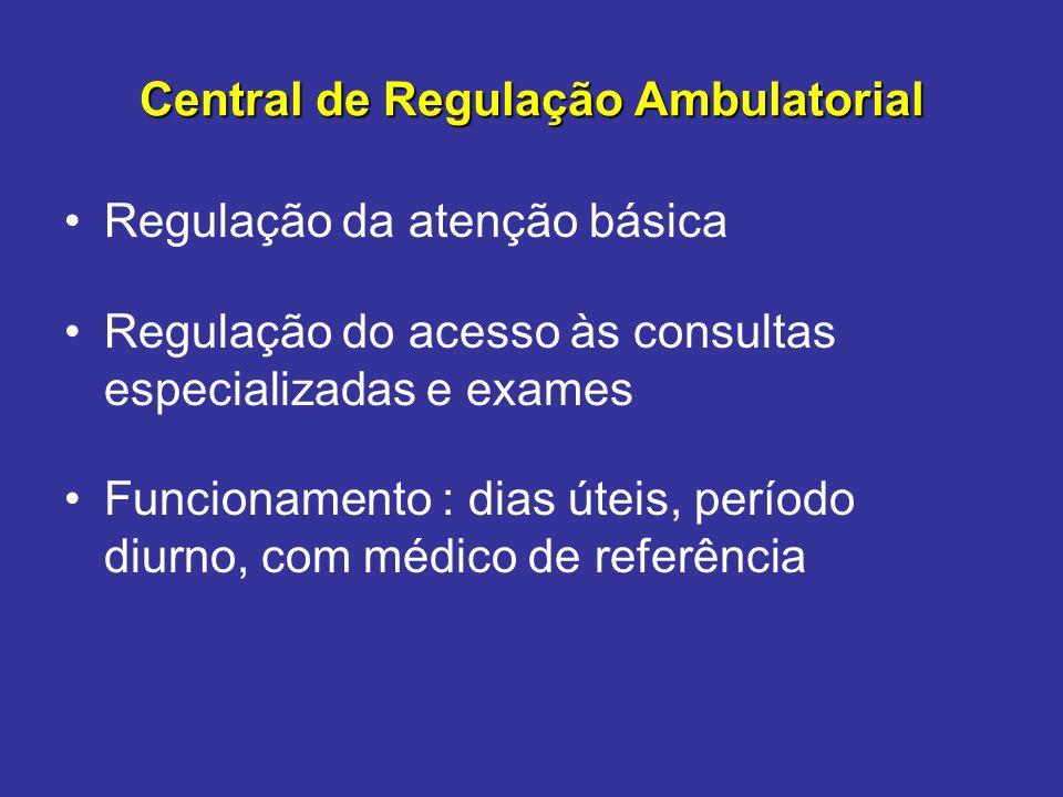 Central de Regulação Ambulatorial Regulação da atenção básica Regulação do acesso às consultas especializadas e exames Funcionamento : dias úteis, per