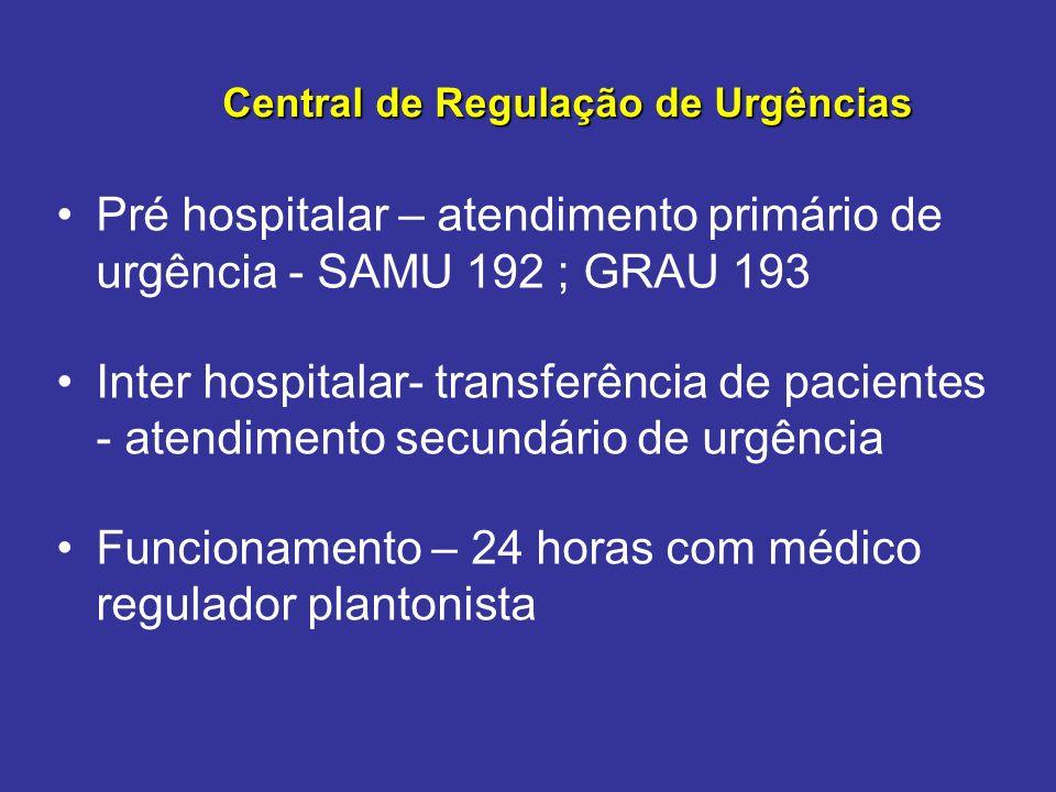 Pré hospitalar – atendimento primário de urgência - SAMU 192 ; GRAU 193 Inter hospitalar- transferência de pacientes - atendimento secundário de urgên