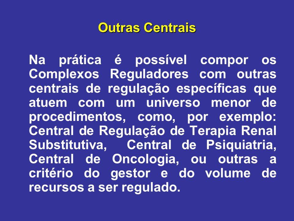 Outras Centrais Na prática é possível compor os Complexos Reguladores com outras centrais de regulação específicas que atuem com um universo menor de