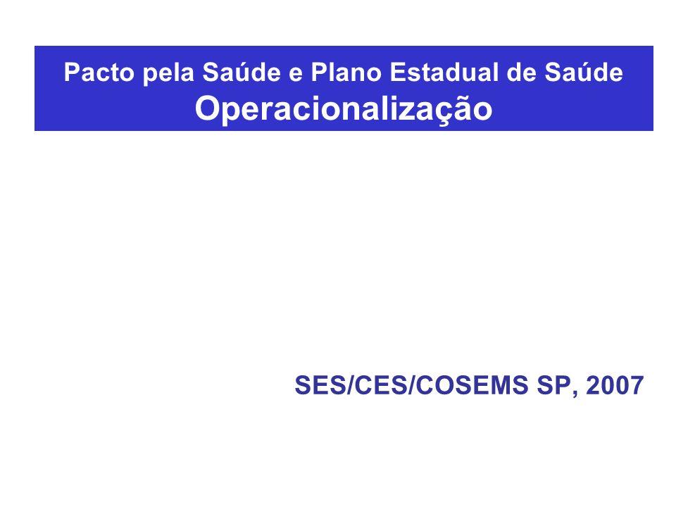 Pacto pela Saúde e Plano Estadual de Saúde Operacionalização SES/CES/COSEMS SP, 2007