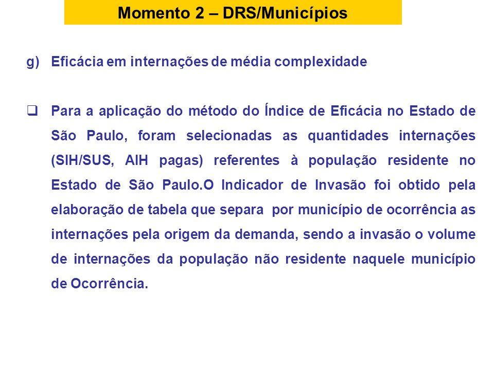 g)Eficácia em internações de média complexidade Para a aplicação do método do Índice de Eficácia no Estado de São Paulo, foram selecionadas as quantid