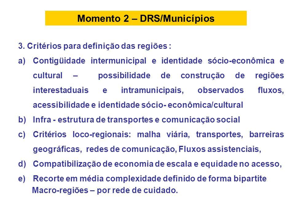3. Critérios para definição das regiões : a)Contigüidade intermunicipal e identidade sócio-econômica e cultural – possibilidade de construção de regiõ