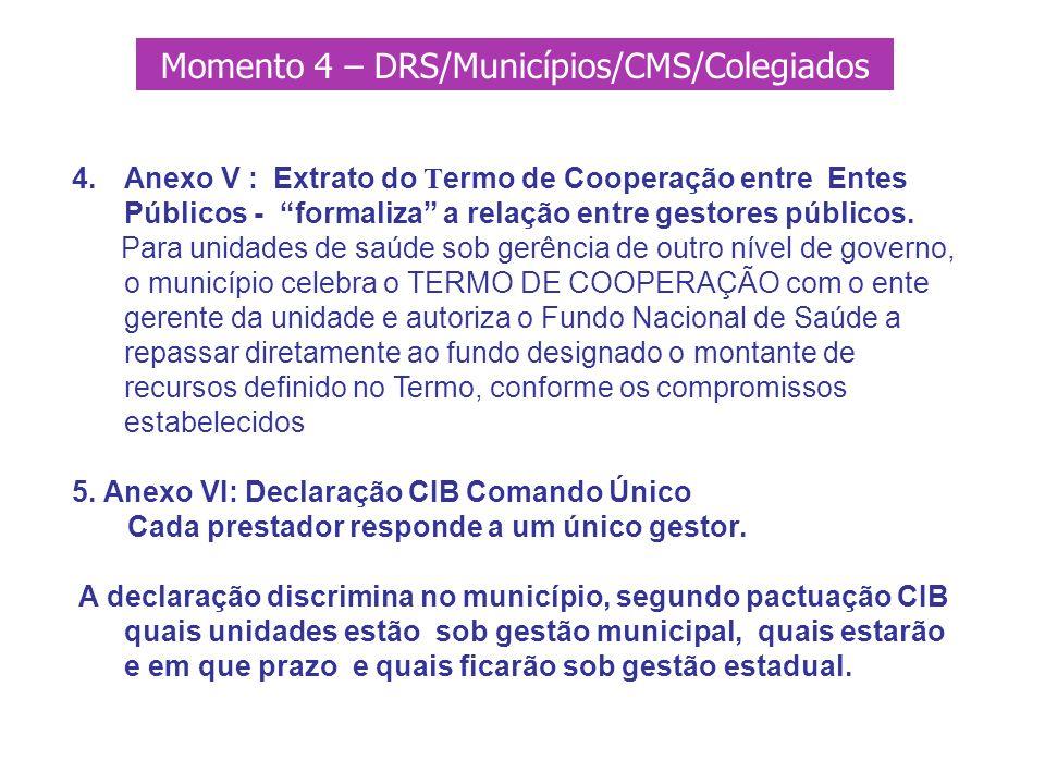 4.Anexo V : Extrato do T ermo de Cooperação entre Entes Públicos - formaliza a relação entre gestores públicos. Para unidades de saúde sob gerência de
